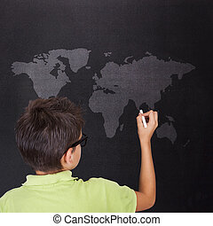 child on the Board with world map