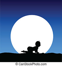 child on the moon