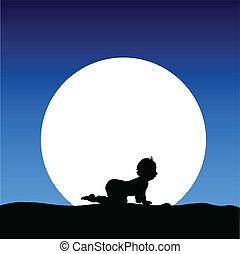 child on the moon