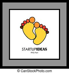 Child or toddler's colorful pair of footprint- vector logo icon