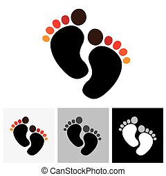 Child or toddler's colorful pair of footprint - vector graphic