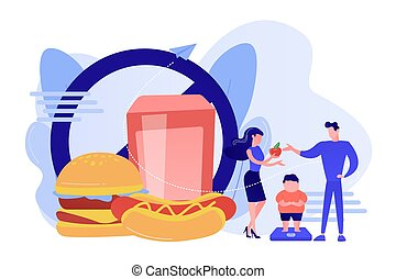 Child overweight concept vector illustration.