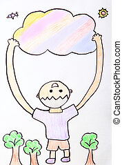 Child Painting - kid happy hug colorful cloud