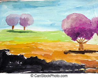 Child Painting of Trees and Blue Sky