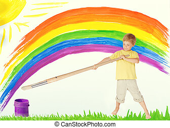 Child Painting Rainbow, Creative Kid Draw Color Art Image, Children Dreams and Inspiration