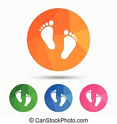 Child pair of footprint sign icon. Barefoot . - Child pair...