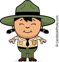 Child Park Ranger - A cartoon illustration of a girl park...