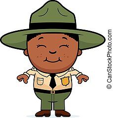 Child Park Ranger - A cartoon illustration of a boy park...