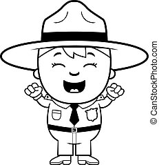 Child Park Ranger Excited - A cartoon illustration of a boy...