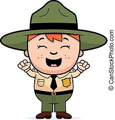 Child Park Ranger Excited