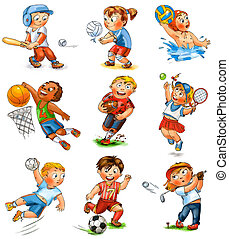 Child participation in sports. Baseball, volleyball, water polo, basketball, rugby, tennis, handball, football, golf. Hand-drawn