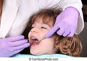 child patient at the dentist dental examine