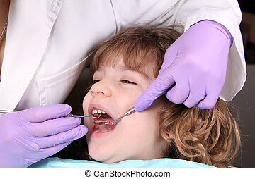 child patient at the dentist dental examine