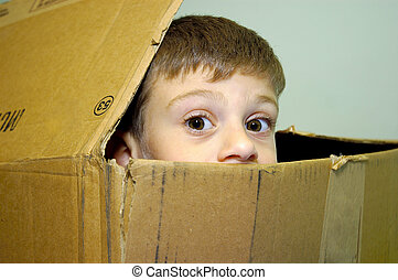 Child Peeking out of a Carton - Young Child Peeking His Head...