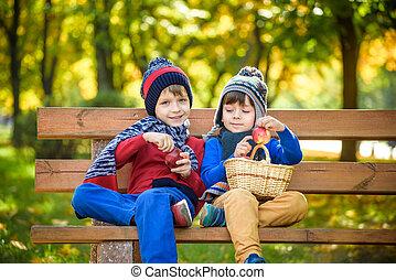 Child picking apples on a farm in autumn. Little boy sitting...
