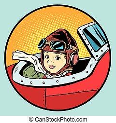 Child pilot plane game dream aviation pop art retro style....