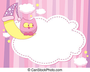 child pink template with a moon and owl