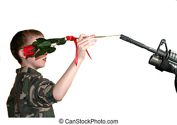 Child Placing Rose In Rifle 1