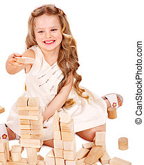 Child play building blocks. - Happy child playing building...