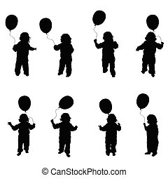 child play with balloon set illustration in black