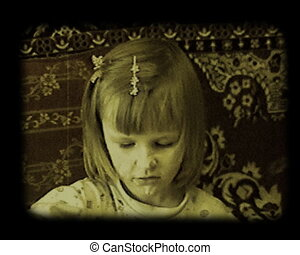 little girl playing with meal stylized at old movie