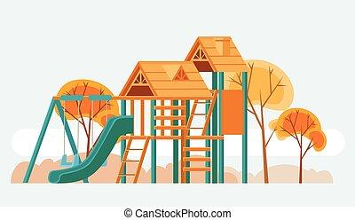 Child playground. Vector flat cartoon illustration