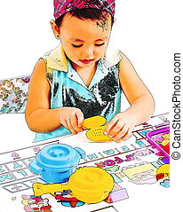 Child Playing At Cooking With Toy Kitchen Set