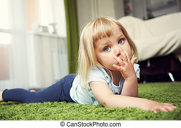 child playing at home