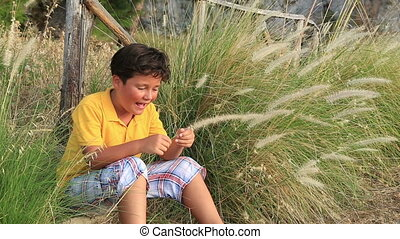 Child  playing in nature