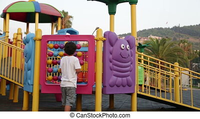 Child playing in play ground