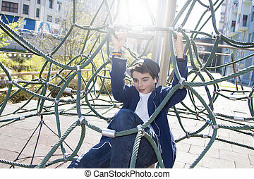 child playing in the playground outdoor