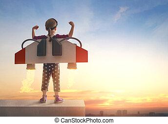 Child playing pilot