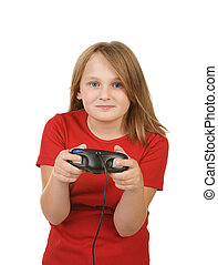 child playing video games,