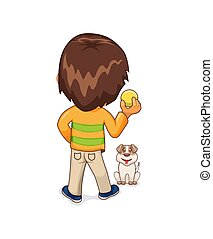 Child Playing with Dog Leisure Vector Illustration