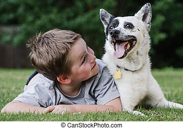Child playing with his pet dog