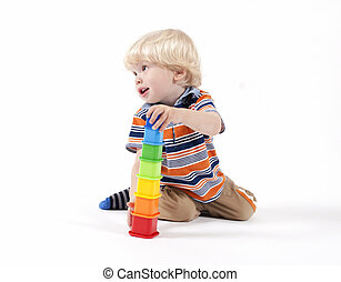 Child plays educational toy