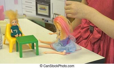 Child plays in kindergarten indoors - Child in kindergarten...