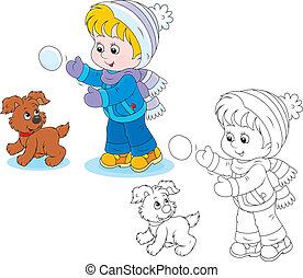 Child plays with a pup - Little boy or girl and puppy...