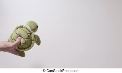 Child plays with a turtle toy. Part_03.