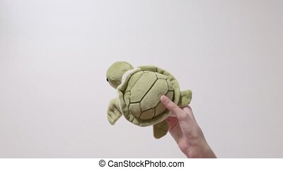 Child plays with a turtle toy. Part_04.