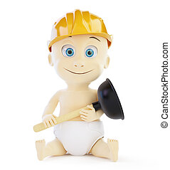 child plumber 3d on a white background