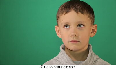 Child portrait, boy looks at the camera - Portrait of a...