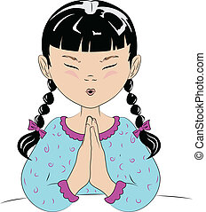 A vector drawing of a young girl saying her prayers before she goes to bed. She has pigtails and is in her pajamas,