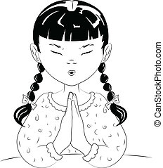 A vector line drawing of a young girl with pigtails, with her hands together, saying her prayers before she goes to bed.