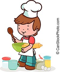 Child preparing to cook - Vector Illustration of a little...