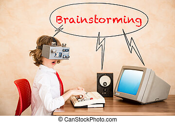 Child pretend to be businessman. Kid playing at home. Imagination, idea and start up concept. Back to school