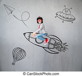 Portrait of young child pretend to be businessman. Kid playing at home. Imagination, idea and creative concept. Copy space for your text