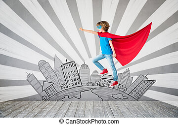 Child pretend to be superhero. Superhero kid. Success,...