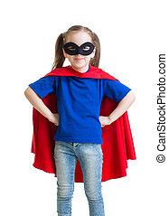 Child girl pretending to be a superhero