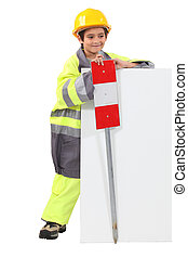 Child pretending to be a traffic guard